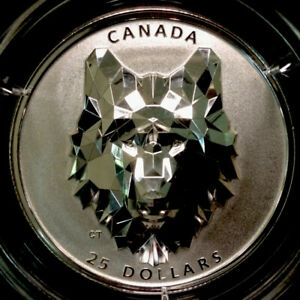 Rare 2019 $25 Canada Multifaceted Silver Wolf Head Coin in High Relief #1323