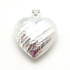 """Sterling Silver Puffed Wheat Engraved Heart Pendant 1 3/8"""" x 1 3/4"""" NWOT"""