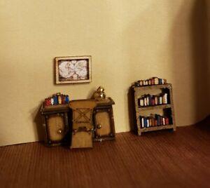 """Dollhouse Miniature 1:144 Scale Desk, Chair, Book Shelf, Wall Art,  """"ASSEMBLED"""""""