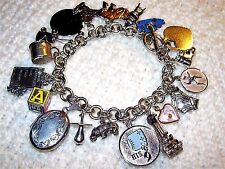 "Vintage Sterling Silver ROLO Charm Bracelet & 19 Charms, 7"", LOADED, Movers,Baby"