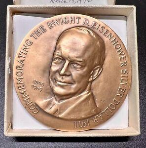 "1971 Dwight D. Eisenhower Silver Dollar Medallic Art 2.50"" Bronze Medal - In Box"