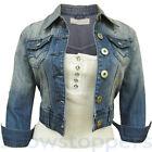 NUOVO Giacca di jeans donna gilet corto taglia 8 10 12 14 16