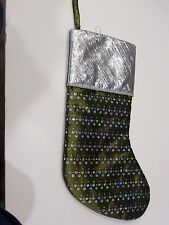 OLIVE GREEN SILVER HOLOGRAPHI LINED CHRISTMAS STOCKING MANTLE HOLIDAY DECORATION