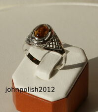 Cute Baltic Amber Oval Ring on Silver 925 O1/2