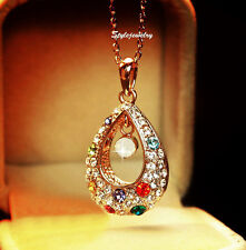 18k Rose Gold Plated Multicolor Crystal Vintage Teardrop Necklace N181