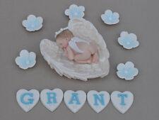 Edible baby angel in angel wings personalised Christening  Baptism cake topper