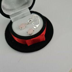Peruvian Pink Opal leverback earrings in Sterling silver
