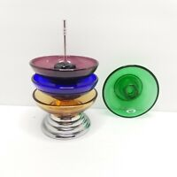 Vintage Depression Glass Mini Ashtray Set 5 piece serving green blue purple yell