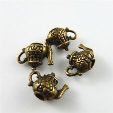 Mini Teapot Shaped Vintage Style Bronze Alloy Crafts Jewelry Charms Pendants 30x