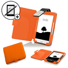 Leather Orange Case Cover with LED Light Amazon Kindle 2016 Screen Prot Stylus