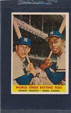 1958 Topps #418 Mickey Mantle Hank Aaron VG/EX 58T418-90215-1