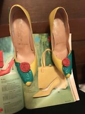 Vintage 60s Shoes Lady Fashion Come Hither Hurtin Heels Yellow Sunshine