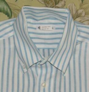 LORO PIANA White Striped Longsleeve Button Down Linen Cotton Shirt 16.5 x 42
