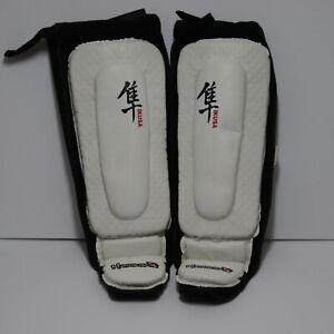 Hayabusa Ikusa White Shin Guards -  Large Size for MMA, Kickboxing, Muay Thai