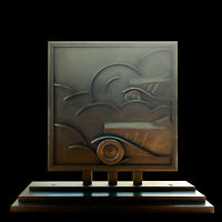 ZADOUNAÏSKY PAIR OF SCREEN FIRE AIRPLANE AND AUTOMOBILE MODERNIST IRONWORKS