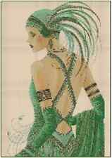 Cross Stitch Chart ART DECO LADY WITH GREEN DRESS No. 1-9 (Large Print)