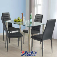 5PC Dining Table Set Tempered Glass Top 4 Black Leather Chairs Kitchen Furniture