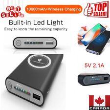 Qi Wireless Charging Portable Charger 10000mAh Power Bank Backup Battery (Black)