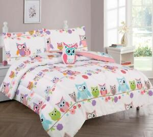 White Pink Blue Purple Owls Floral 8 pc Comforter Sheet Set Twin Full Bed Bag