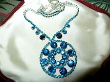 Lovely vintage Silvertone  Turquoise Crystal Circular Drop pendant necklace