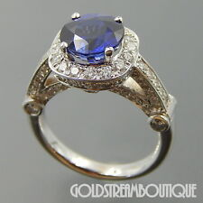 18K WHITE GOLD 2.96 TCW DIAMONDS FAUX ROUND SAPPHIRE HIGH SET ENGAGEMENT RING