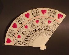 """Vintage Celluloid? Hand Fan 10"""" x 6"""" Hand Painted Hearts Lace Pattern"""