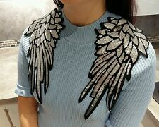 SILVER ANGEL SEQUIN WINGS PAIR 28.5x14CM SHOULDER CRAFT SEW ON APPLIQUE PATCH