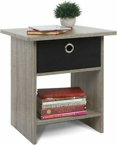 Furinno Wooden Bed Side End Table with Drawer - Frnech Oak Grey