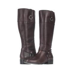 Ralph Lauren Mesa Wide Calf Riding Boots, Dark Brown/Dark Brown, 9.5US Display