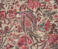 "Hand Block Printed Raw Tussah Silk Fabric Palampore Historic Design 42"" Wide"