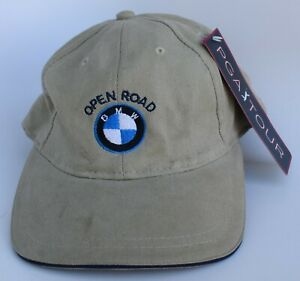 BMW Open Road PGA Tour Golf Baseball Cap Hat One Size Leather Strapback Beige
