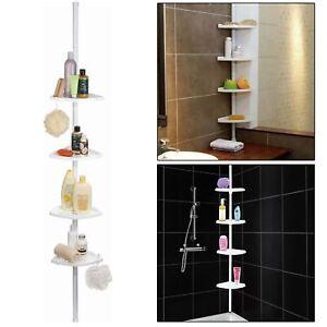 4 Tier Adjustable Telescopic Bathroom Corner Shower Shelf Rack Organiser Caddy