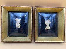 Antique Colonial Bust Framed Bubble Convex Glass Art Pair, Masaigon Co.