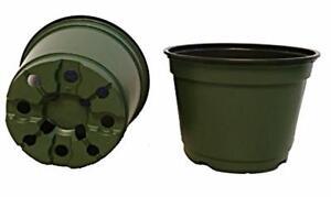 "6 Inch Pots, (Qty. 50),  6"" Round Nursery Pots, Green Plastic Azalea Pots"