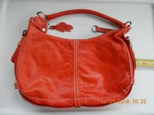 Roots Large Red Orange Pebble Soft Leather Hand Bag Purse Canada Excellent Con