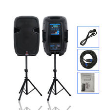 """STARAUDIO Pair 12"""" 2000W Powered Active DJ Speakers System W/Bluetooth PA Stands"""