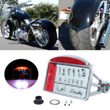 Chrome Motorcycle Side Mount License Number Plate Bracket Tail Light For Chopper