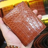 Crocodile Leather Skin Men's bifold wallet DOUBLE SIDE Brown Genuine Alligator
