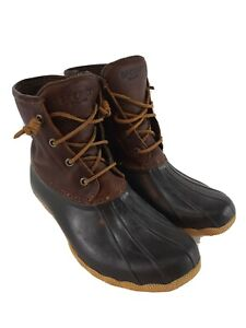 SPERRY Brown Leather Saltwater Rubber Duck Boots Womens 9