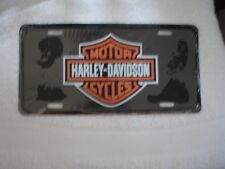 Harley Davidson Collectible License Plate - Orange and Black bar and shield