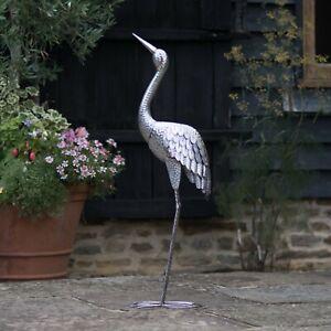 Silver Metal Crane Statue Ornament   Garden Sculpture   Outdoor Bird