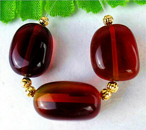 3Pcs 17x11x10mm Brown Red Crystal Glass Oval Height Holes Bead AP14677
