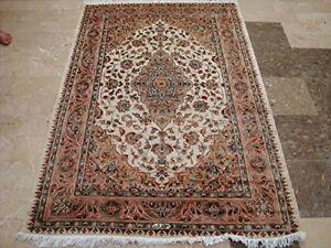 New Sarafiann Floral Medallion Area Rug Hand Knotted Wool Silk Carpet (6 x 4)'