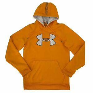 Under Armour Hoodie Sweatshirt Men Sz S Yellow Gold Big Logo Storm Fleece *READ