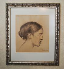 Cuban Artist José Segura Ezquerro 1925 Framed Pencil Drawing Havana   Spain