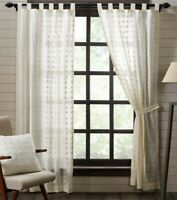 WILLOW CREME tab top Farmhouse Panel Set embroidered curtains cotton cottage 84""