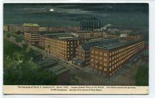 B F Goodrich Rubber Factory at Night Akron Ohio 1910c postcard