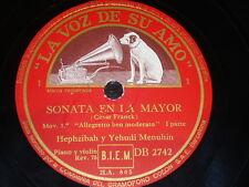 PIANO & VIOLIN 2 x 78 rpm RECORDS VsA HEPZIBAH & YEHUDI MENUHIN Sonata FRANCK