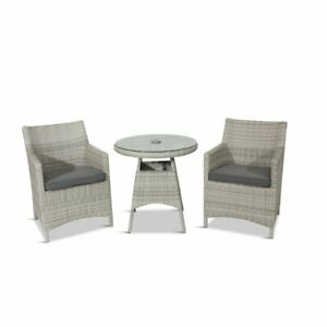 Rattan Chairs x 2 Bistro Cream Rattan Chairs With Cushions UK Shipper RRP £300