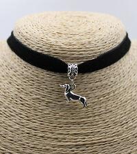 Retro Dog Dachshund Women Pendant Black Choker Collar Bib Necklace 1 PC New #01